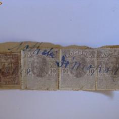 3 TIMBRE FISCALE CAROL I DIN 1911+1 TIMBRU AJUTOR, Regi, Romania 1900 - 1950
