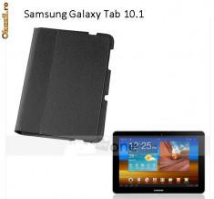 Folie ecran + Husa neagra  Stand Ultra Subtire Case Cover f.Samsung Galaxy Tab 10.1 P7510 P7500