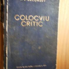 A. E. BACONSKY    - Colocviu  Critic