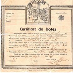 278 Document vechi-14sept1940 - Certificat de botez -pruncul Favian -Biserica Sf.Gheorghe, din comuna Mihai Bravu, plasa Viziru, judetul Braila - Pasaport/Document