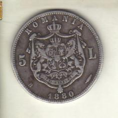Bnk mnd romania 5 lei 1880 argint , kulrich pe cerc