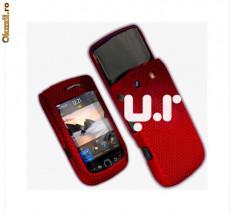husa rosie mesh slide Blackberry Torch 9800 + folie ecran + expediere gratuita cu posta romana