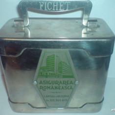Cutie / pusculita de bani Fichet : Asigurarea Romaneasca / Amintiri RSR / F100 - Pusculita copii