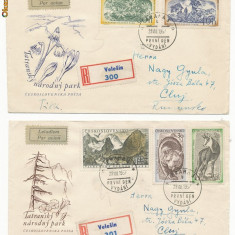RFL Cehoslovacia 1957 serie Parcul National Tatra pe plicuri FDC spre Romania