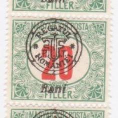 1919 Supratipare Oradea -porto 20 bani streif de 5 bucati - Timbre Romania