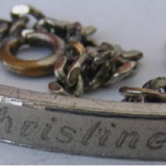 Bratara veche din metal gravata Christine