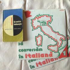 """SA VORBIM ITALIENESTE"", manual + doua discuri mari de vinil, Alex. Mircan, 1967. Limba italiana"
