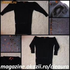 ROCHIE / PULOVAR / BLUZA NEAGRA TRICOTATA FASHION 100% LANA cu PAIETE si MARGELE NEGRE de SEARA, OCAZIE - Rochie tricotate, Negru