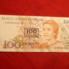 Bancnota 100 Cruzeiros noi, Supratipar, BRAZILIA, NC. - bancnota america