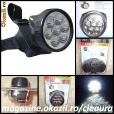 LANTERNA/ FELINAR/ FAR/ LAMPA FRONTALA/de CAP pentru CASA MINERIT PESCUIT VANATOARE CAMPING TRASEE TURISTICE cu 7 LED-uri