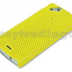 Husa mesh galben protectie + folie ecran Sony Ericsson SE Xperia Arc s X12 airmesh - Husa Telefon