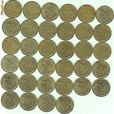Franta lot 30 bucati 20 Centimes ani diferiti de la 1962 la 1997