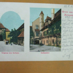 Carte Postala Sibiu Cromotipie Gruss aus Hermannstadt Rathaus