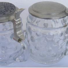 2 halbe din sticla cu capace din zinc Germania