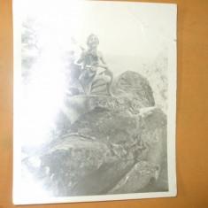Fotografie veche arta erotica nud femeie cu caine pe stanca 16 x 13 cm