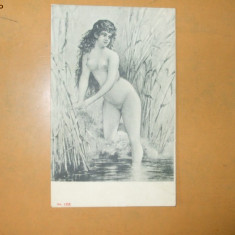 Carte postala erotica pictura fata nud la scaldat - Carte postala tematica