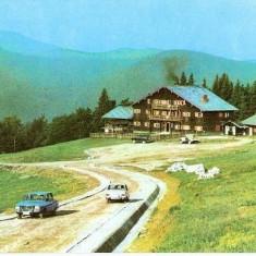 "CP 212-99 Muntii Ciucas. Cabana ,,Muntele Rosu""(masini: Dacia 1300 -M-461- Volga) -circulata 1974 -starea care se vede"
