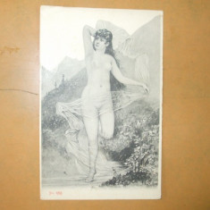 Carte postala erotica pictura fata nud in natura - Carte postala tematica