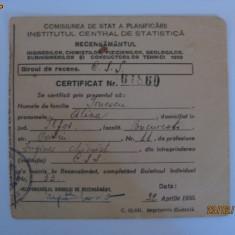 CERTIFICAT RAR DE RECENSAMANT DIN 1950 - Diploma/Certificat