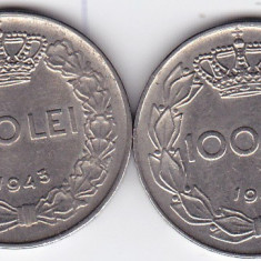 4.Regele Mihai, lot 100 lei 1943 si 1944, calitate - Moneda Romania