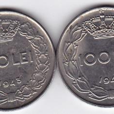5.Regele Mihai, lot 100 lei 1943 +1944, calitate - Moneda Romania