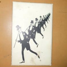 Carte postala Ilustratori Desen Grup barbati in costum cu joben
