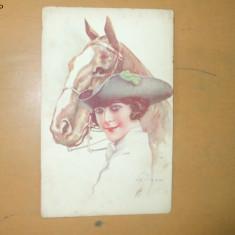 Carte postala Ilustratori Desen Femeie cu palarie de epoca si cal