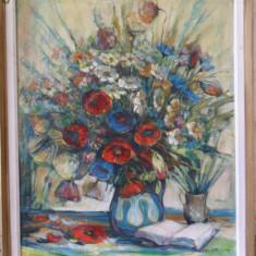 Vaza MACI si Flori semnat BARTHA, tablou in ulei pe panza foarte frumos