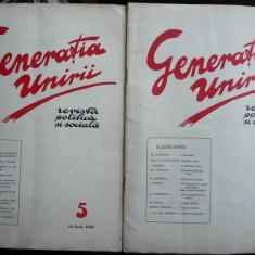 Generatia Unirii, revista politica si sociala, 2 numere din 1929, Lapedatu, Ion Nistor, Inculet - Carte Editie princeps
