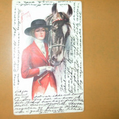 Carte postala echitatie cal animale ilustrator Garber desen femeie manusi cravasa palarie costum jocheu epoca