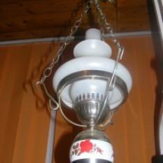 LAMPA VECHE,LUSTRA TIP LAMPA VECHE IMPECABILA-ELECTRICA,ABAJUR SI LAMPA STICLA