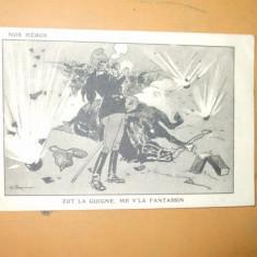 Carte postala caricatura razboi uniforma cal pipa explozie Nos Heros Zut la Guigne me v'la fantassin