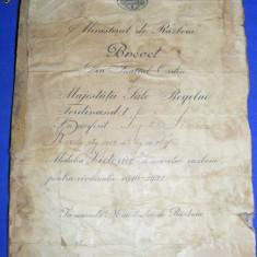BREVET acordat de REGELE FERDINAND I, Medalia,, VICTORIA,, 1916-1921, MINISTERUL DE RAZBOI