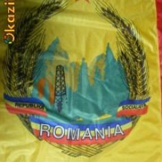 DRAPEL, STEAG ORIGINAL RSR, BLAZON PRIMA EDITIE, REPUBLICA SOCIALISTA ROMANIA - Steag fotbal