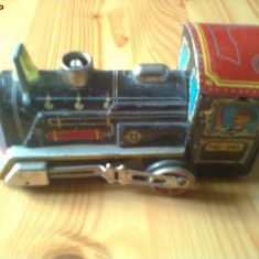 Locomotiva tren tabla jucarie veche comunista anii 70 china chinezeasca hobby - Jucarie de colectie