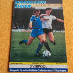 Program fotbal BRIGHTON - LIVERPOOL 22.03.1983