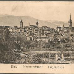 Sibiu - Vedere generala - Carte Postala Transilvania dupa 1918, Circulata, Printata