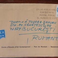 PLIC CIRCULAT SPANIA - ROMANIA. 1982. PAR AVION