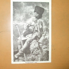Carte Postala Port popular costum romanesc barbat munte cioban toiag  fluier Horovitz Bucuresti Rumanischer Hirt