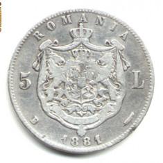 5 LEI 1881 ( CU LITERA G DE LA REGE LARGITA ) VF++ ARGINT 900/1000 - Moneda Romania