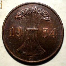 E.291 GERMANIA REICH 1 REICHSPFENNIG 1934 A XF/AUNC, Europa, Bronz