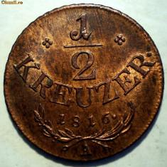 C.060 AUSTRIA 1/2 KREUZER 1816 A XF/AUNC, Europa, Cupru (arama)