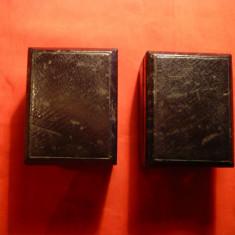 2 Cutii Bijuterii vechi din Lemn imbracat in piele