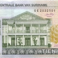 Bancnota Suriname 10 Dolari 2010 - P163 UNC