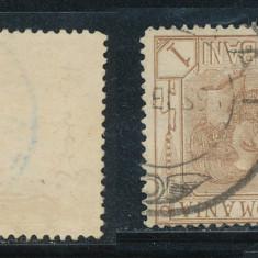 RFL 1900 ROMANIA eroare Spic de Grau timbru de 1 bani cu filigran PR ranversat, stampilat - Timbre Romania