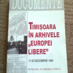 Timisoara in arhivele europei libere carte stiinta istorie banat documente