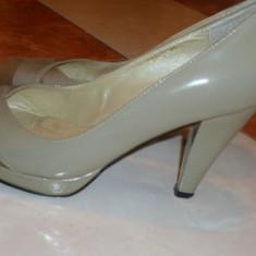 Pantofi de piele cu toc si platforma - Pantof dama, Argintiu, Marime: 37.5