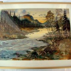 Toamna - pictura pe carton - semnat indescifrabil - Tablou autor neidentificat
