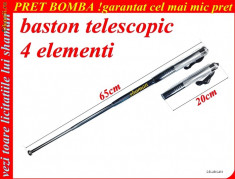 BASTON TELESCOPIC 4 ELEMENTI NICHELAT 65cm AUTOAPARARE INFRACTORI, CAINI AGRESIVI SUPER-PROMOTIE,TERMEN LIMITAT !BUCURESTI MILITARI foto