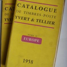 2 CARTI/CATALOAGE FILATELIE-TIMBRE SI MARCI POSTALE-YVERT&TELLIER, EUROPA-FRANTA, 1957